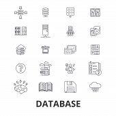Database, data management, hosting, technology, db, server, storage, backup line icons. Editable strokes. Flat design vector illustration symbol concept. Linear signs isolated on background poster