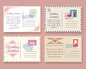 Vintage wedding postcard vector templates. Old vector marriage invitation postale cards for scrapbook or save date letters poster