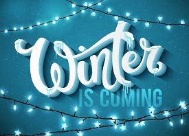 Winter is coming poster with realistic fir tree, icicles and christmas sparkling lights. Vector illustration.