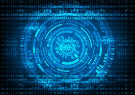 Abstract technology Malware Ransomware virus encrypted files on binary code and gear blue background. Vector illustration cybercrime and cyber security concept.