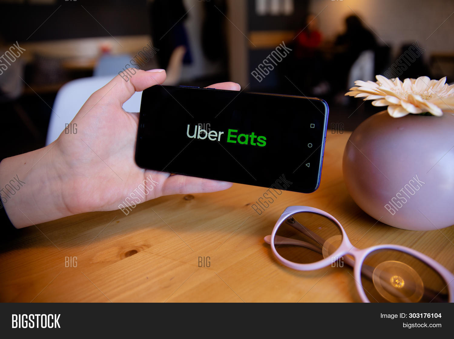 Tula, Russia - March 25, 2019: Uber Eats On Phone Display.