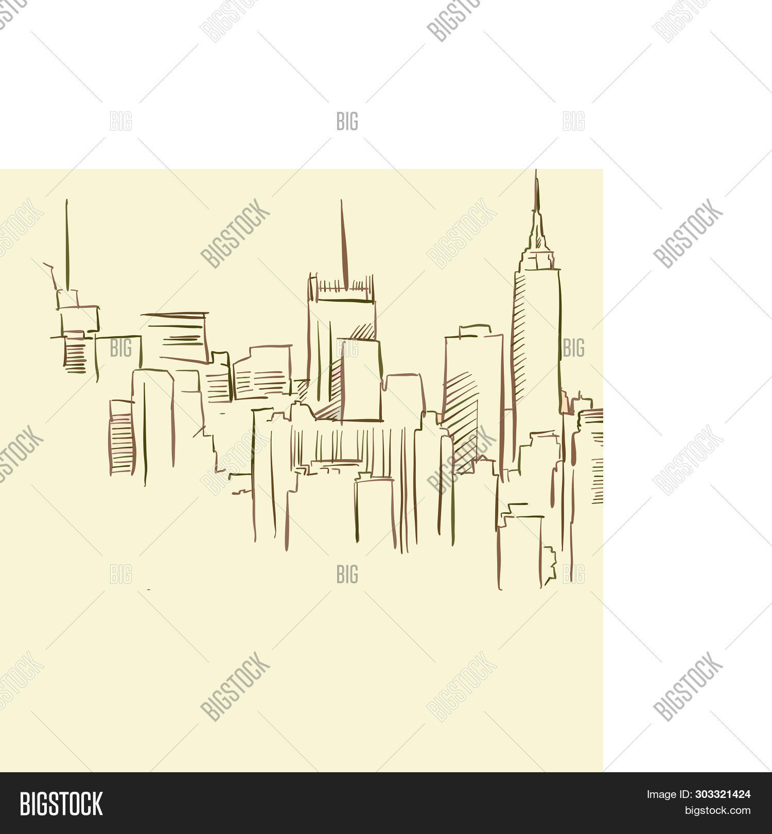 Metropolis Panorama Drawing, Brown Colored Version For Apps, Print Or Web Backgrounds