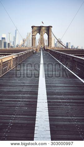 Brooklyn Bridge At Sunrise, New York City.