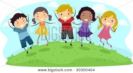 Illustration of Kids Jumping with Glee