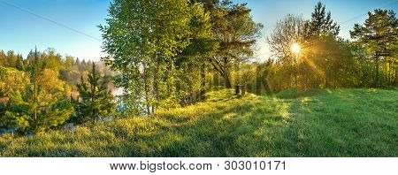 Beautiful Panorama Landscape With Sun And Forest And Meadow At Sunrise. Sun Rays Shine Through Trees