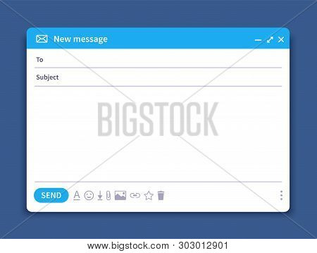 Email Interface. Mail Window Template, Internet Message Isolated Frame, Blank Email Ui Design. Vecto