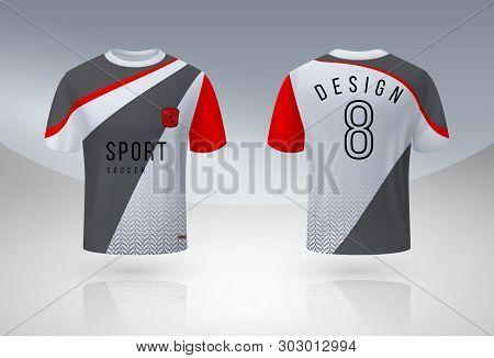 Realistic Soccer Shirt. Jersey Sport Uniform Mock Up Designing, 3d Football Team T-shirt Design Temp