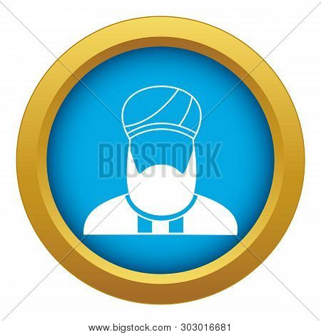 Muslim Preacher Icon Blue Vector Isolated On White Background For Any Design