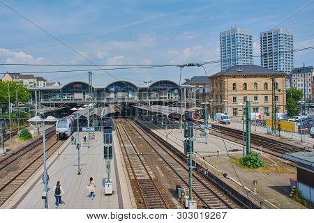 Mainz, Germany On May 24, 2019: Mainz Main Railway Station - Mainz Hauptbahnhof - Railway Station Fo