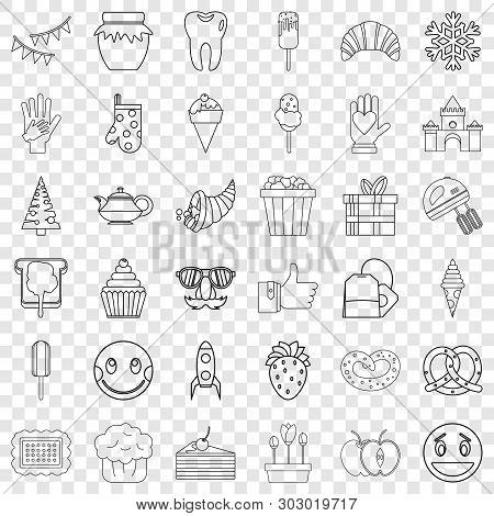 Sweet Stuff Icons Set. Outline Style Of 36 Sweet Stuff Vector Icons For Web For Any Design