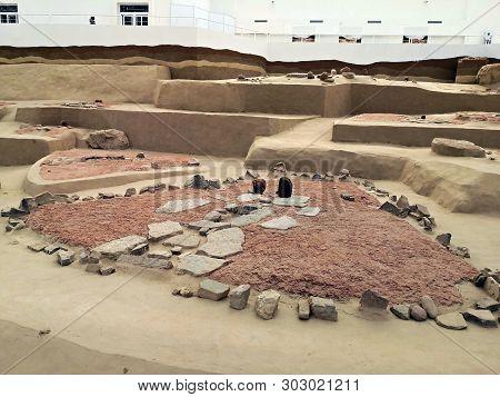 Lepenski Vir, Serbia - April 28, 2019: The Famous Mesolithic Archaeological Excavations At Lepenski