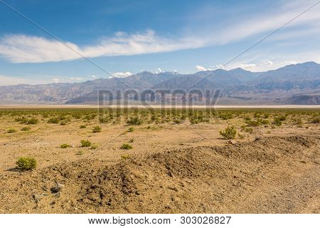 Scenic Landscape With Panamint Mountains In The Background. California, Usa