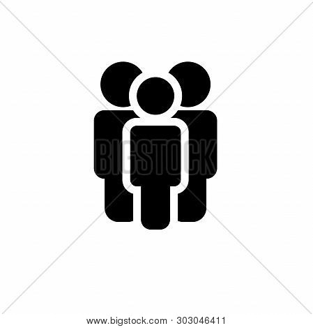 Three People Icon Set In Trendy Flat Style Isolated On Background. Crowd Signs. Persons Symbol For Y
