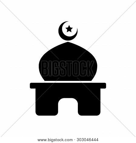 Islamic Templat Black Mosque, Icon, Isolated On White Background., Masjid Templat  In Islam Icon Vec