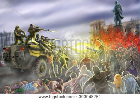 Scary Zombie Horde Attack On An Armored Personnel Carrier With Shooting Soldiers. Dead City Illustra