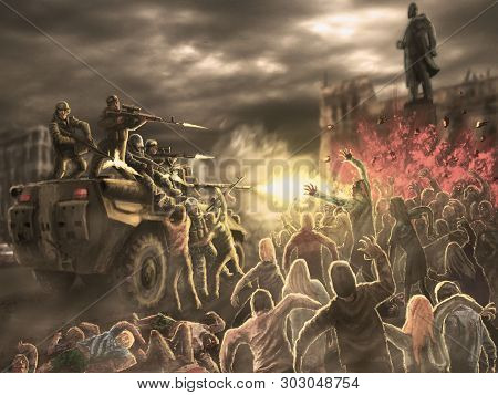 Angry Zombie Horde Attack On An Armored Troop Carrier With Shooting Soldiers. Gloomy City Of The Dea