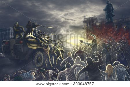 Onset Of The Army Of Darkness In The Square Of The Infected City. Zombie Apocalypse Illustration In