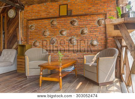 Arm Chair In Living Room Of Country Interior Design Room Right View. Interior Design Room Include Ta