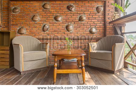 Arm Chair In Living Room Of Country Interior Design Room. Interior Design Room Include Table And Pla