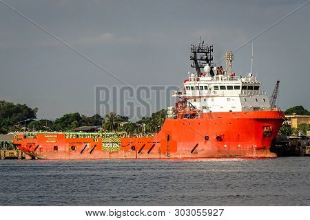 Labuan,malaysia-may 25,2019:view Of Ships Under Repair In Shipyard In The Port Of Labuan,malaysia.a