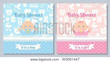 Baby Invitation Card. Vector. Baby Shower Boy, Girl Design. Cute Pink, Blue Banner. Birth Party Back