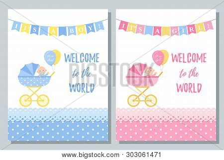 Baby Shower Card. Vector. Cute Pink And Blue Invite Banner. Baby Boy, Girl Design With Newborn Kid,