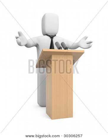 Businessman speaking. Image contain clipping path