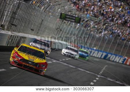 May 18, 2019 - Concord, North Carolina, USA: Joey Logano (22) races off turn four during the Monster Energy All-Star Race at Charlotte Motor Speedway in Concord, North Carolina.