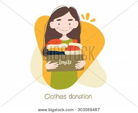 Modern Flat Vector Illustration. Woman Or Volunteer Holding Cardboard Box With Clothing For Donation