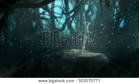 3d Illustration, Render. Excalibur Sword Trapped In Stone. Iconic Scene From The Medieval European S