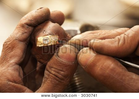 Jeweler Making Rings