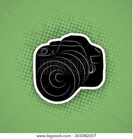 Flat Sticker Style Illustration Of A Dslr Camera On Pattern Background