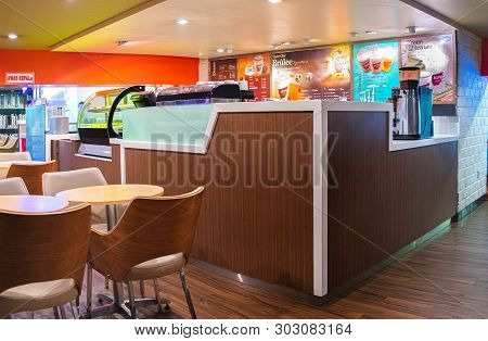 Central Jakarta, 22 May 2019 : Interior Of Kentucky Fried Chicken Krushers Or Known As Kfc Coffee On