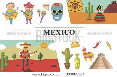 Flat Mexico Composition With Men Playing Guitar Maracas Dancing Woman Sugar Skull Aztec Pyramid Pina