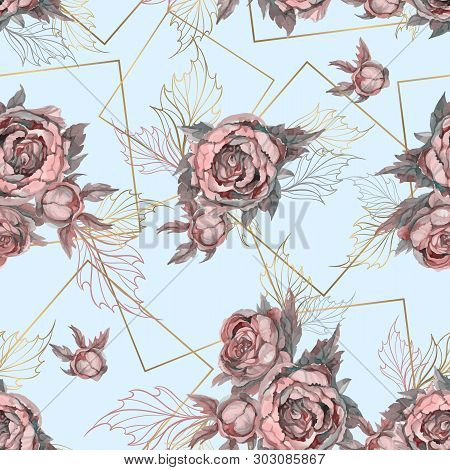 Seamless Pattern With Bouquets Of Watercolor Flowers. Peonies Lilacs Roses. Vector