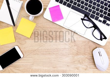 Flat Lay Office Desk Table Of Modern Workplace With Laptop On Wooden Table, Top View Laptop Backgrou