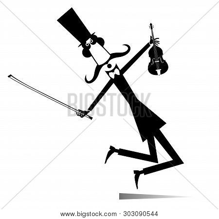 Cartoon Long Mustache Violinist Illustration Isolated. Long Mustache Man In The Top Hat With Violin