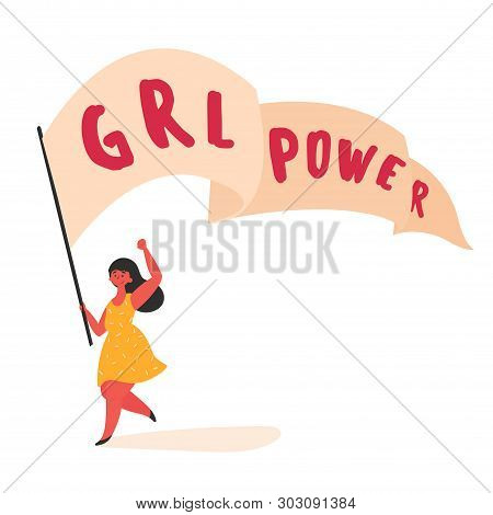 Girl Women Power And Feminist Movement. Girl With Streamer And Grl Power Slogan. Woman Empowerment,