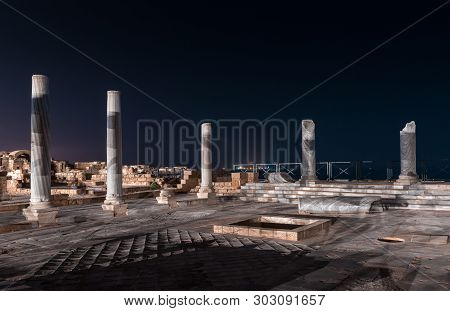 Caesarea, Israel, May 05, 2019 : Night View Of The Ruins Of Caesarea City On The Mediterranean Coast
