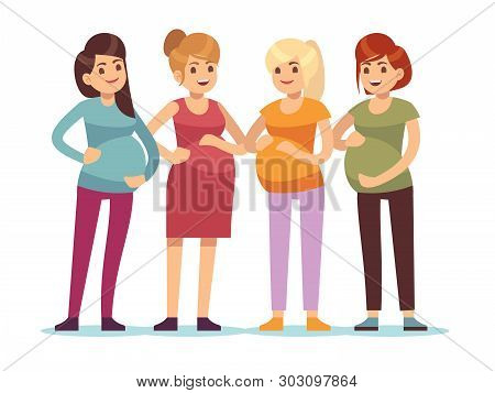 Pregnant Women Group. Future Mothers Anticipation Birth Baby, Friendship Happy Woman Mother With Big