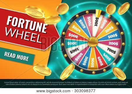 Wheel Fortune. Lucky Jackpot Winner Text Banner, Casino Prize Spinning Roulette. Game Win Chance Cir