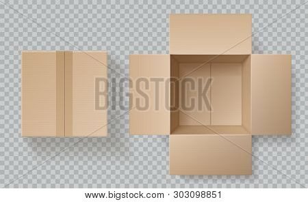 Cardboard Box Top View. Open Closed Boxes Inside And Top, Brown Pack Mockup, Delivery Service Realis