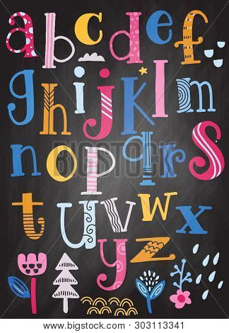 Cute  Alphabet With Swirls  Isolated On Background For Text, Inscription, Greeting Card, Typography,