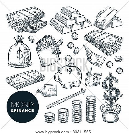Money And Finance Vector Sketch Icons. Bank, Payment, Investment And Commerce Hand Drawn Isolated De