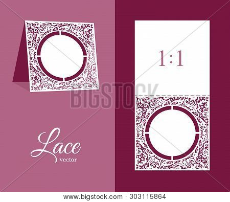 Cutout Wedding Invitation With Floral Lace Pattern. Table Number Or Name Place Card Design. Ornament