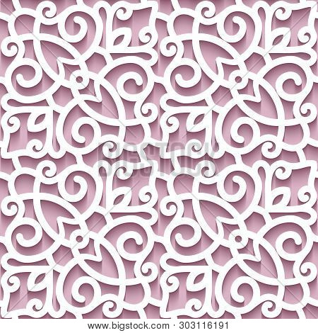 Cutout paper background, lace texture, lacy ornament, abstract seamless pattern in pink color poster