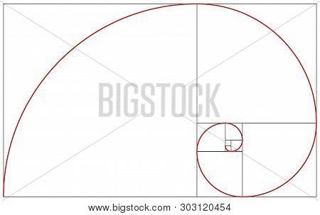 Colorful Vector Illustration Of Fibonacci Spiral. Golden Ratio