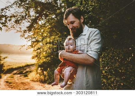 Father Walking With Baby Daughter Family Lifestyle Outdoor Dad And Child Traveling Together Parentho