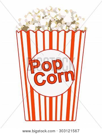 Popcorn. Paper Bag With The Inscription - Popcorn. Striped Red With White Bag With Popcorn. Color Ve