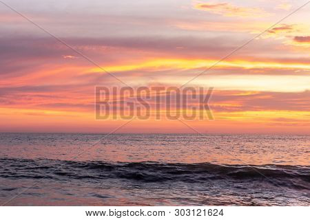 Sunset Color Of Clouds Above Sea Water Image Is Taken At Alleppey Kerala India.